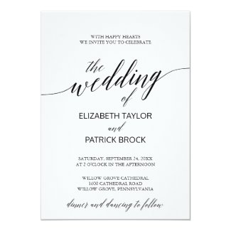 Elegant White and Black Calligraphy Wedding Invitation