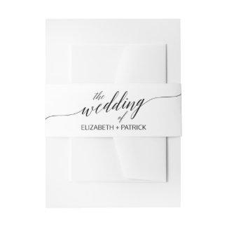 Elegant White and Black Calligraphy Wedding Invitation Belly Band