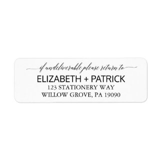 Elegant White and Black Calligraphy Wedding Label