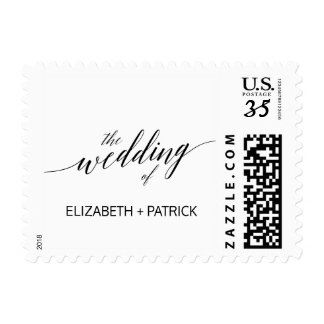 Elegant White and Black Calligraphy Wedding Postage