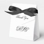 Elegant White and Black Heart Flourish Thank You Favor Box