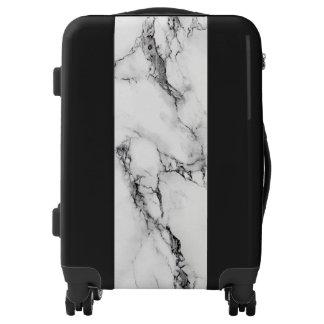 Elegant White And Black Marble Stone Luggage