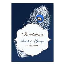 Elegant white and blue peacock  invitations