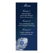 Elegant white and blue peacock menu