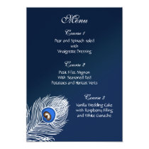 Elegant white and blue peacock menu card