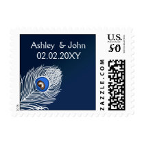 Elegant white and blue peacock postage