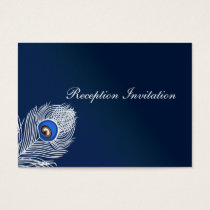 Elegant white and blue peacock Reception Cards