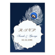 Elegant white and blue peacock rsvp 3.5 x 5 card