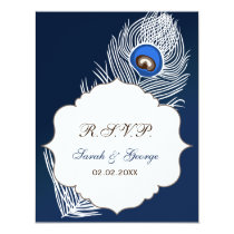 Elegant white and blue peacock rsvp card
