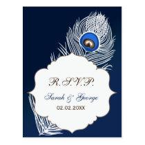 Elegant white and blue peacock rsvp postcard