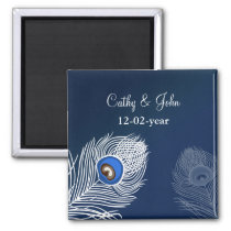 Elegant white and blue peacock save the date magnet