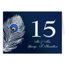Elegant white and blue peacock table numbers card