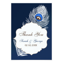 Elegant white and blue peacock Thank You Card