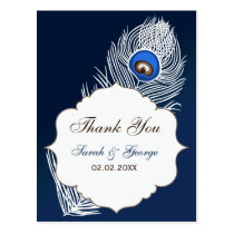 Elegant white and blue peacock Thank You Postcard