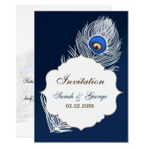Elegant white and blue peacock wedding card