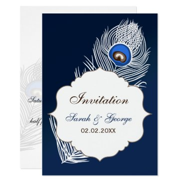 Elegant white and blue peacock wedding card