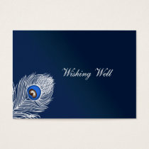 Elegant white and blue peacock wishing well cards