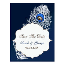 Elegant white and blue save the date announcement postcard