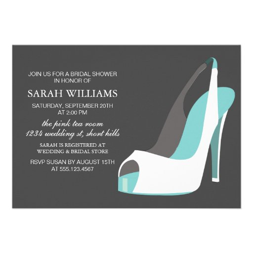 Elegant White and Blue Shoes Bridal Shower Announcement