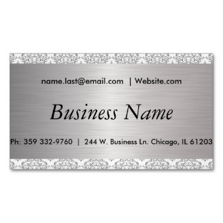 Elegant White and Brush Silver Steel Damask Business Card Magnet