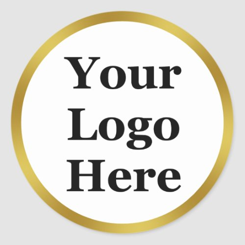 Elegant White and Faux Gold Your Logo Here Classic Round Sticker