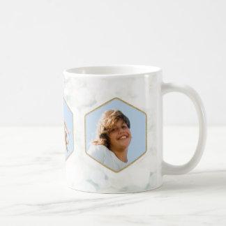 Elegant White and Gold Christmas Mug with 3 Photos