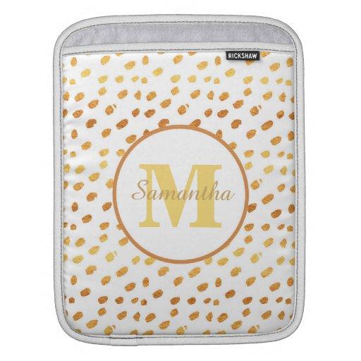 Elegant White and Gold Confetti Monogram Name iPad Sleeve