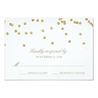 Elegant White and Gold Confetti Polka-Dots RSVP Card