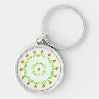 Elegant White and Gold Dots Chic Green Zigzag Keychain