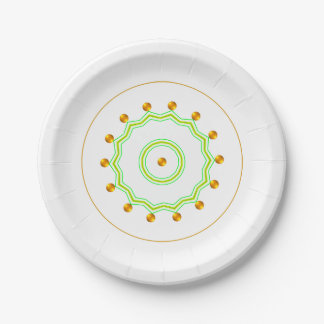 Elegant White and Gold Dots Chic Green Zigzag Paper Plate