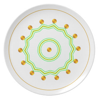 Elegant White and Gold Dots Chic Green Zigzag Plate