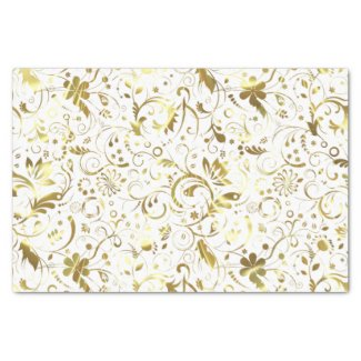 Elegant White And Gold Floral Damasks