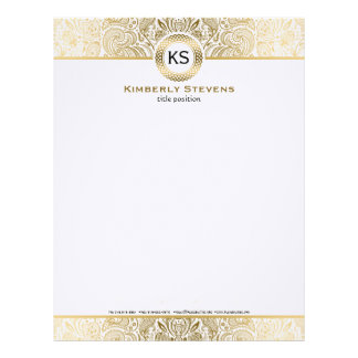 Elegant White And Gold Floral Paisley Letterhead