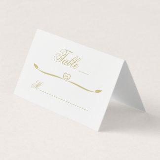 elegant white and gold heart flourish wedding place card