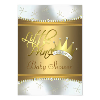 elegant white and gold little prince baby shower 5x7 paper invitation