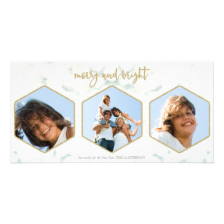 Elegant White and Gold Merry and Bright Christmas Card