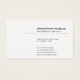 Elegant White and Gold Modern Simple Plain Business Card