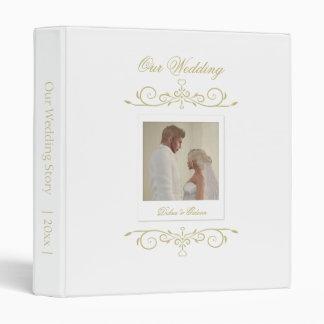Elegant White and Gold Monogram Wedding Album Binder