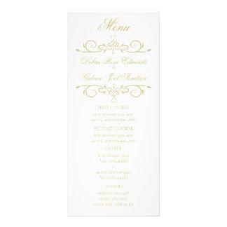 Elegant White and Gold Monogram Wedding Menu
