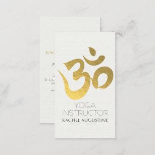 Yoga instructor business cards templates zazzle elegant white and gold om symbol yoga instructor business card colourmoves