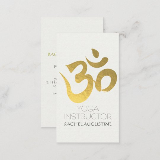 Elegant white and gold om symbol yoga instructor business card elegant white and gold om symbol yoga instructor business card reheart Images