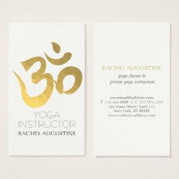 Yoga studio business cards templates zazzle elegant white and gold om symbol yoga instructor business card reheart Choice Image