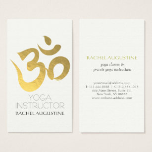 Symbol of om gifts on zazzle elegant white and gold om symbol yoga instructor business card reheart Images
