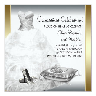 Elegant White and Gold Princess Quinceanera Personalized Announcement