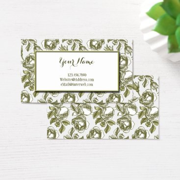 Professional Business Elegant White and Gold Roses Custom Business Cards