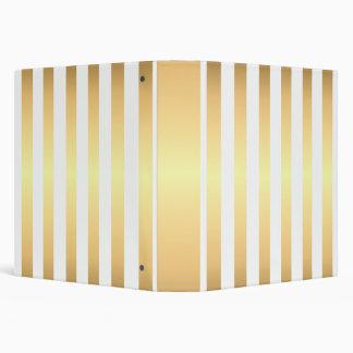 Elegant White and Gold Stripes Pattern 3 Ring Binder