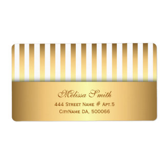Elegant White and Gold Stripes Pattern Label