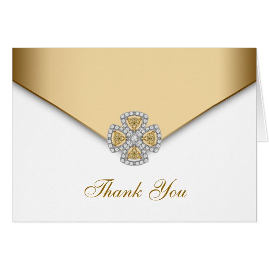 Elegant White and Gold Thank You Card