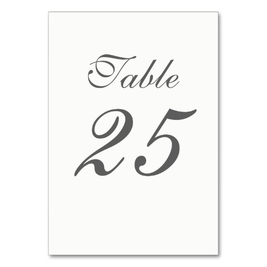 Elegant White and Gray Numbers Table Number