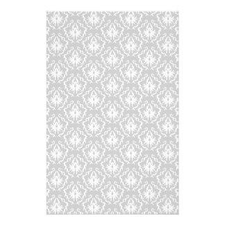 Elegant White and Gray Pattern. Damask. Flyer